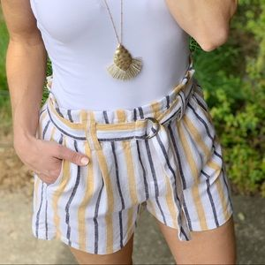 Yellow, black, ivory striped Linen shorts